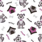 Um teste padrão sem emenda com cães, as casotas, os ossos e o ` das palavras latem o ` ilustração stock