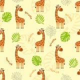 Um teste padrão sem emenda com um girafa, umas folhas de palmeira, umas folhas tropicais e o girafa da inscrição ilustração royalty free