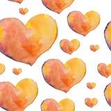 Um teste padrão sem emenda dos corações bonitos pintados na aquarela sobre Fotografia de Stock Royalty Free