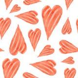 Um teste padrão sem emenda dos corações bonitos pintados na aquarela sobre Imagem de Stock Royalty Free