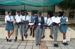 um texting ocupado do estudante entre um grupo de estudar estudantes Fotos de Stock Royalty Free