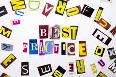Um texto da escrita da palavra que mostra o conceito da melhor prática feito da letra diferente do jornal do compartimento para o Fotografia de Stock Royalty Free
