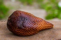 Um tiro dos frutos da serpente tomados em um mercado local, Malásia Imagem de Stock