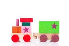 Um toytrain de madeira Fotos de Stock