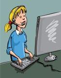 Um trabalhador do centro de chamadas no posta ilustração do vetor