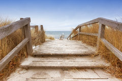 Trajeto através das dunas no mar Báltico no inverno Fotografia de Stock Royalty Free