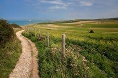 Um trajeto litoral com campos circunvizinhos coloridos aproxima o tampão Blanc Nez, ` Opale da costa d, Pas de Calais, Hauts de F Imagem de Stock