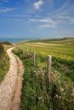 Um trajeto litoral com campos circunvizinhos coloridos aproxima o tampão Blanc Nez, ` Opale da costa d, Pas de Calais, Hauts de F Foto de Stock