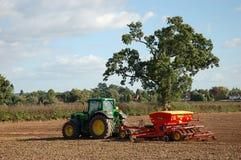 Um trator semeia a semente em um campo Foto de Stock