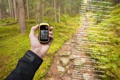 Um trekker está encontrando a posição direita na floresta através dos gps em um dia outonal nebuloso Imagens de Stock