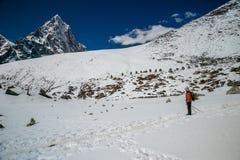 Um trekker está indo para trás do acampamento base de Everest, em Nepal Fotografia de Stock Royalty Free