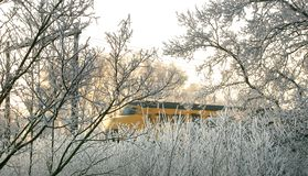 Um trem em uma paisagem invernal ensolarada Fotografia de Stock Royalty Free
