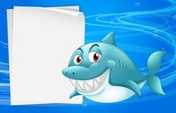 Um tubarão com um bondpaper vazio sob o mar ilustração stock