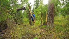 Um turista em um boné de beisebol com uma trouxa atrás do seu para trás na floresta ao lado de uma árvore caída vídeos de arquivo