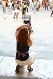 Um turista que toma a foto Fotografia de Stock