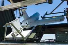 Um UAV aéreo 2não pilotado do veículo com características Rheinmetall KZO do discrição na posição de começo Imagem de Stock