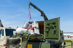 Um UAV aéreo 2não pilotado do veículo com características Rheinmetall KZO do discrição na posição do transporte Foto de Stock