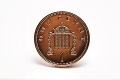 Um um Close-Up britânico da moeda da moeda de um centavo Imagens de Stock Royalty Free