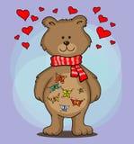 Um urso com as borboletas no estômago Fotografia de Stock