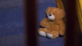 Um urso de peluche em escadas vídeos de arquivo