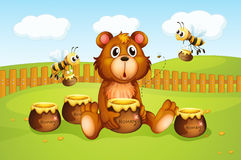 Um urso e abelhas dentro de uma cerca Fotos de Stock Royalty Free