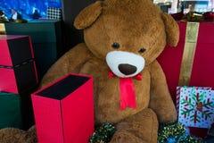 Um urso e presentes de peluche que embalam sob a árvore de Natal Fotografia de Stock Royalty Free