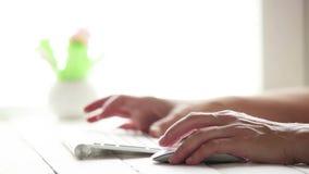 Um utilizador de PC trabalha no computador usando o teclado e o rato sem fio video estoque
