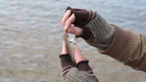 Um vagabundo travou um peixe pequeno pela isca, mas desliza inesperadamente fora de suas mãos video estoque
