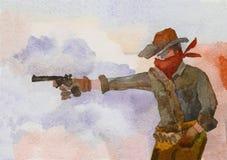 Um vaqueiro em um chapéu ateia fogo a uma pistola contra o contexto de um fumarento imagem de stock royalty free