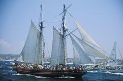 Um veleiro na vela superior 84 das artes olímpicas em Redondo Beach, Califórnia Imagem de Stock