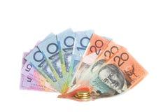 Um ventilador de dólares australianos no backgrou branco Fotos de Stock Royalty Free
