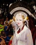 Um ventilador de Star Wars vestido como a princesa Amadalla Foto de Stock