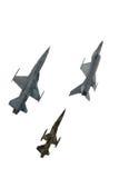 Um verde coloriu o avião de combate da camuflagem do isolado contra Imagem de Stock Royalty Free