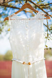 Um vestido de casamento que pendura em uma árvore Foto de Stock