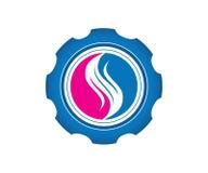 Um vetor da imagem do logotipo de uma chama dentro de uma engrenagem na cor vermelha e azul ilustração royalty free