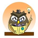 Um vetor do livro de leitura da coruja, gênio da coruja, coruja inteligente leu o livro ilustração stock