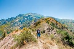Um viajante na parte superior da montanha Foto de Stock