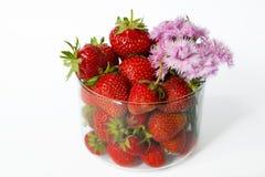Um vidro com morangos e as flores cor-de-rosa em um fundo branco Imagens de Stock Royalty Free