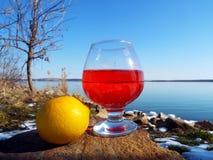 Um vidro da bebida vermelha imagens de stock royalty free