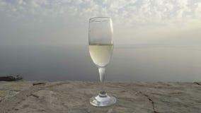 Um vidro do champanhe contra o mar video estoque
