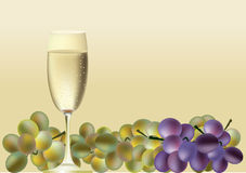 Um vidro do vinho e das uvas Fotografia de Stock