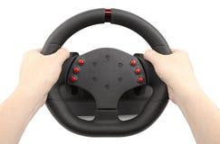 Um volante para competir as mãos guardando, isolado no branco fotografia de stock royalty free