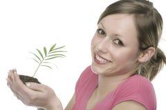 Um woma com planta Fotografia de Stock Royalty Free