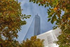 Um World Trade Center com folhas de outono foto de stock