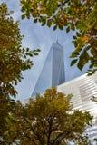 Um World Trade Center com folhas de outono fotos de stock