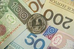 Um zloty em todo o dinheiro polonês Fotos de Stock Royalty Free