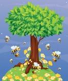 Uma árvore com abelhas ilustração stock