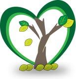 Uma árvore com pouco ícone amarelo e verde do logotipo das folhas Imagem de Stock Royalty Free