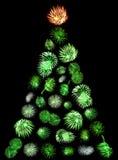 Uma árvore de Natal feita de fogos-de-artifício verdes Imagem de Stock Royalty Free