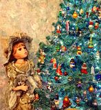 Uma árvore de Natal mágica Ainda-vida do Natal Aquarela molhada de pintura no papel Arte ingénua Arte abstrata ilustração royalty free